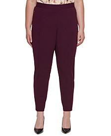 Plus Size Mid-Rise Elastic Waist Pants