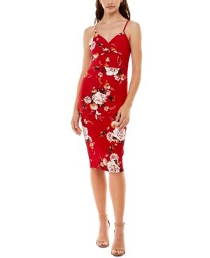 Juniors' Floral-Print Peekaboo Slip Dress