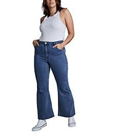 Trendy Plus Size Denim Stretch Flare Jeans