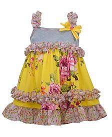 Baby Girls Sleeveless Striped Knit To Pebble Crepe Skirt with Mixed Chiffon Print Ruffles