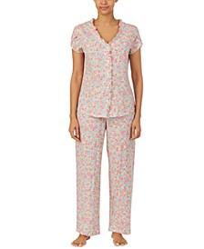 Printed Ruffle-Trim Cotton Pajamas Set
