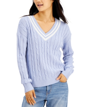 Juniors' Varsity Cable-Knit Sweater