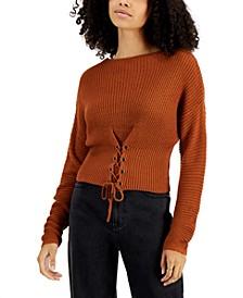 Juniors' Corset-Hem Sweater
