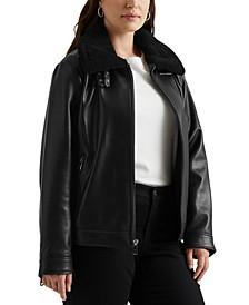 Plus Size Faux-Fur Collar Leather Jacket