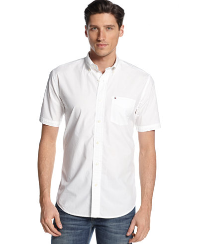 Tommy hilfiger men 39 s big tall maxwell short sleeve for Mens tall button down shirts