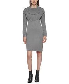 Fringe-Yoke Sweater Dress
