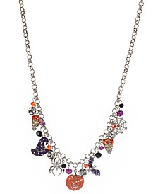 """Silver-Tone Halloween Multi-Charm Statement Necklace, 18"""" + 3"""" extender, Created for Macy's"""