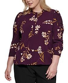 Plus Size Floral 3/4-Sleeve Blouse