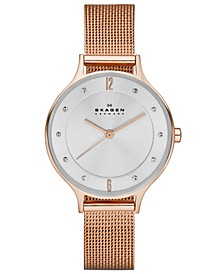 Women's Anita Rose Gold-Tone Stainless Steel Mesh Bracelet Watch 30mm SKW2151