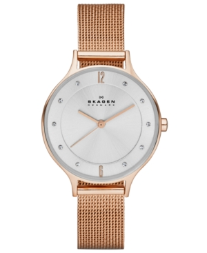 Skagen Women's Anita Rose Gold-Tone Stainless Steel Mesh Bracelet Watch 30mm SKW2151