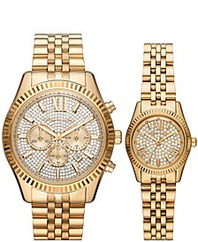 Lexington Men's and Women's Gold-Tone Stainless Steel Bracelet Watch 44mm and 26mm Chronograph Gift Set