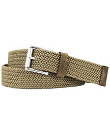 HUGO Men's Gabi Woven Belt with Leather Accents