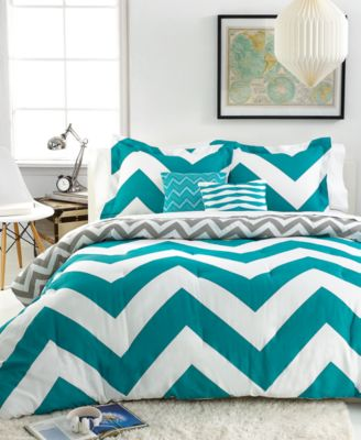 CLOSEOUT! Chevron Teal 5 Piece Comforter Sets - Bed in a Bag - Bed ...