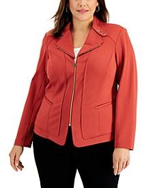 Plus Size Zip-Front Moto Jacket