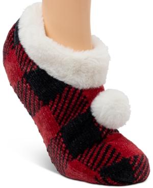 Faux Fur Buffalo Plaid Ballerina Slipper Socks