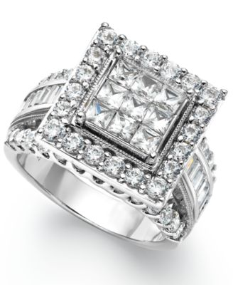 diamond square engagement ring in 14k white gold 3 ct tw rings jewelry watches macys - Square Wedding Ring