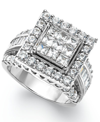 diamond square engagement ring in 14k white gold 3 ct tw - Square Wedding Rings
