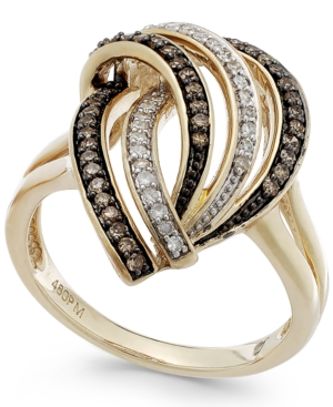 Wrapped in Love Brown (1/5 ct. t.w.) and White Diamond (1/8 ct. t.w.) Swirl Ring in 14k Gold