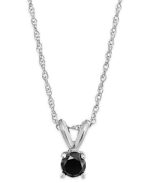Macy's Black Diamond Round Pendant Necklace in 10k White Gold (1/10 ct. t.w.)