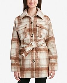 Brushed Belted Plaid Shirt Jacket