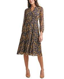 Petite Printed Blouson-Sleeve Midi Dress