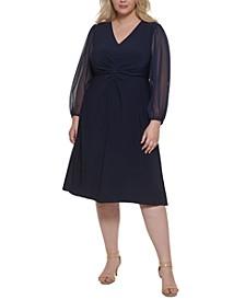 Plus Size Chiffon-Sleeve Midi Dress