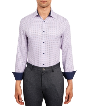 Con. Struct Men's Slim-Fit Performance Stretch Allover Dot Print Dress Shirt