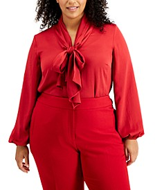 Plus Size Tie Neck Long Sleeve Blouse, Created for Macy's