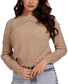 Camille Button-Shoulder Pointelle-Knit Sweater