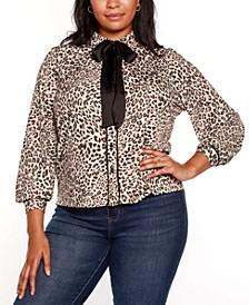Black Label Plus Size Button Front Animal Print Blouse with Contrast Neck Tie