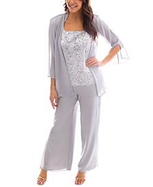 3-Pc. Lace Top, Jacket & Pants