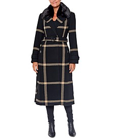 Faux-Fur-Collar Plaid Maxi Wrap Coat
