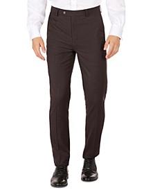 Men's Brown Neat Skinny-Fit Dress Pants