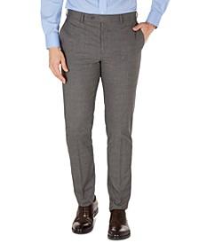 Men's Grey Plaid Skinny-Fit Dress Pants