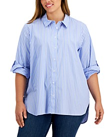Plus Size Striped Collared Boyfriend Shirt