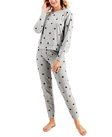 Long Sleeved Waffle Pajama Top and Jogger Set, Created for Macy's