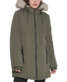 Faux-Fur-Trim Hooded Parka Coat, Created for Macy's