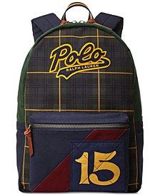 Men's Logo-Patch Tartan Canvas Backpack