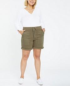 Plus Size Stretch Twill Drawstring Cargo Shorts