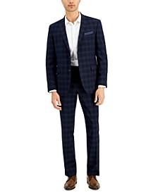Men's Slim-Fit Navy Plaid Suit