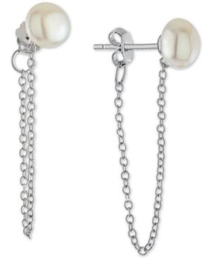 Cultured Freshwater Pearl (6mm) Chain Drop Earrings in Sterling Silver