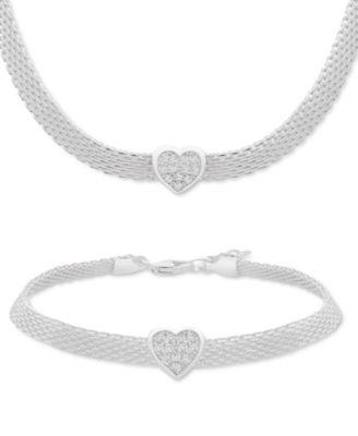 Cubic Zirconia Heart Mesh Link Bracelet in Sterling Silver