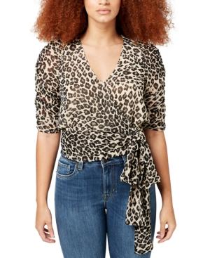 Natala Printed Ruched-Sleeve Top