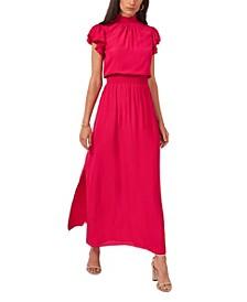 Flutter Sleeve Smocked Neck Maxi Dress