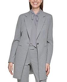 Pinstriped One Button Long Blazer