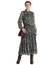 Ascot-Print Georgette Dress
