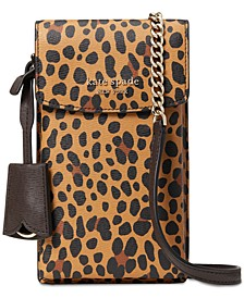 Spencer Leopard North South Phone Crossbody