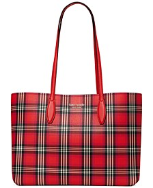 All Day Foliage Plaid Leather Tote