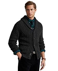 Men's Aran-Knit Wool-Cashmere Cardigan