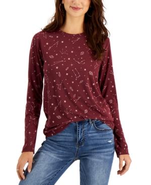 Juniors' Celestial-Print Long-Sleeve T-Shirt